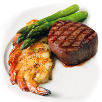 Filet with Grilled Shrimp and Asparagus (The Chop House and Connors Steak & Seafood)